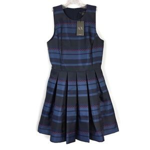 Armani Exchange Navy Red Stripe Fit Flare Dress